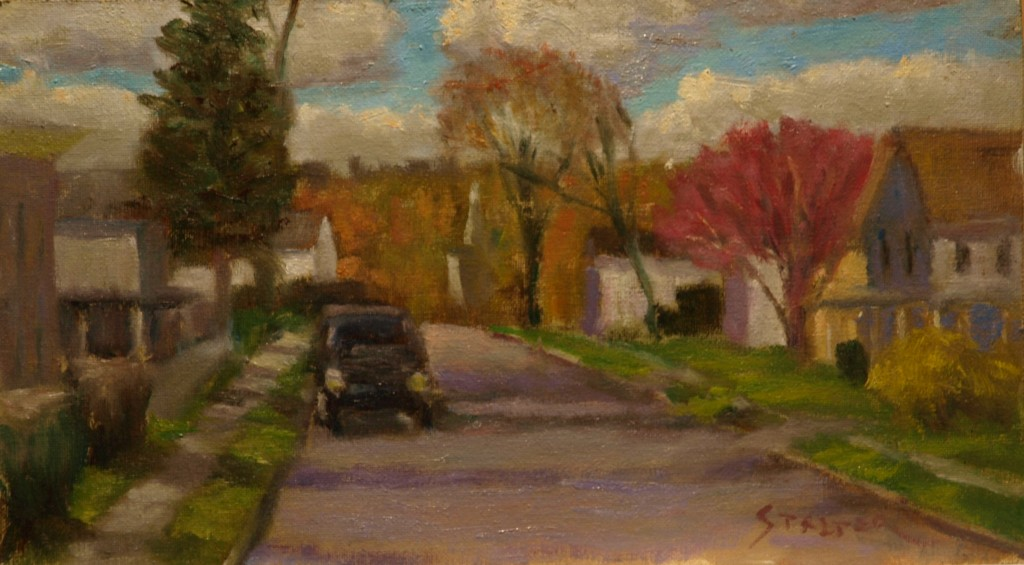 South Main, Oil on Canvas on Panel, 8 x 14 Inches, by Richard Stalter, $225