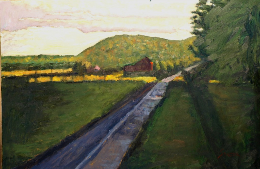 Long Road Home, Oil on Canvas, 24 x 36 Inches, by Richard Stalter, $1200