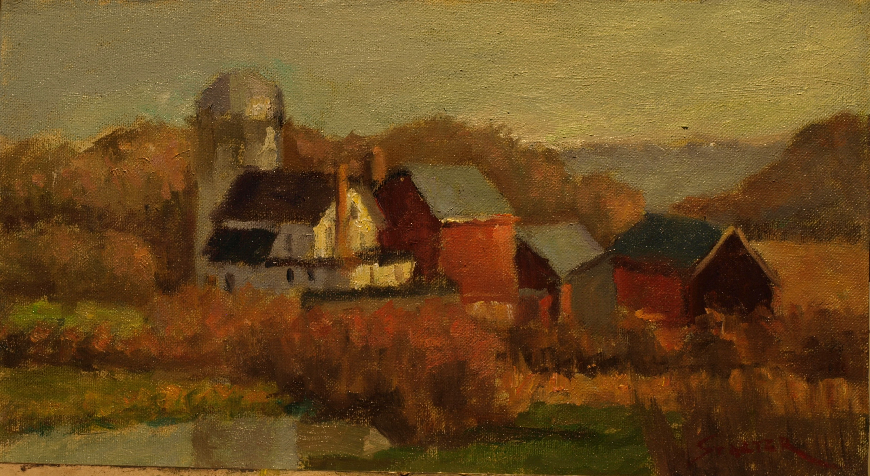 Rabbit Hill Farm, Oil on Canvas on Panel, 8 x 14 Inches, by Richard Stalter, $220