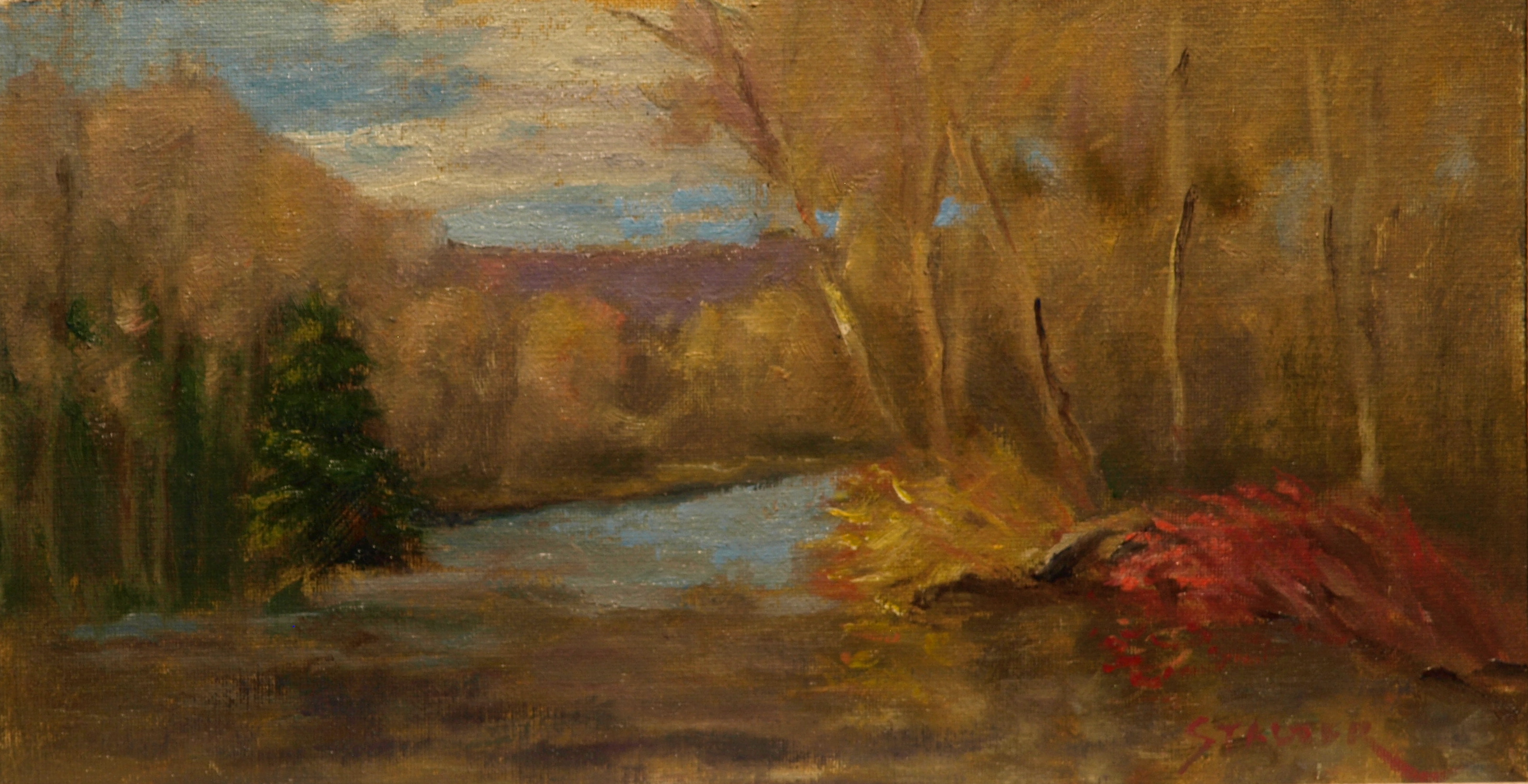 Red and Yellow Bushes, Oil on Canvas on Panel, 8 x 14 Inches, by Richard Stalter, $225