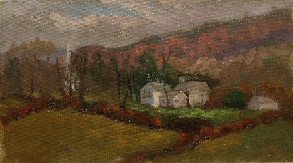 Village of Gaylordsville, Oil on Canvas on Panel, 8 x 14 Inches, by Richard Stalter, $220