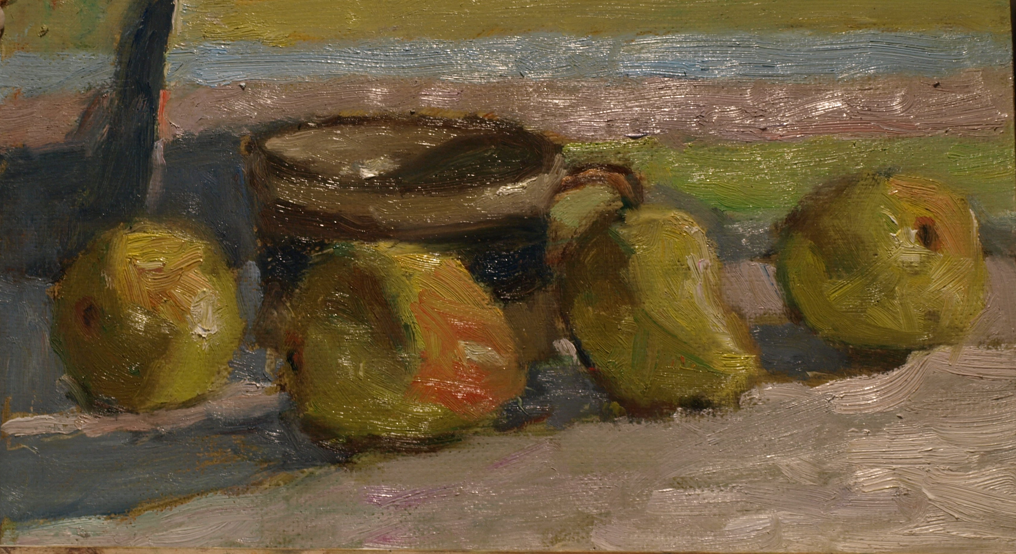 Four Pears, Oil on Panel, 8 x 14 Inches, by Richard Stalter, $220
