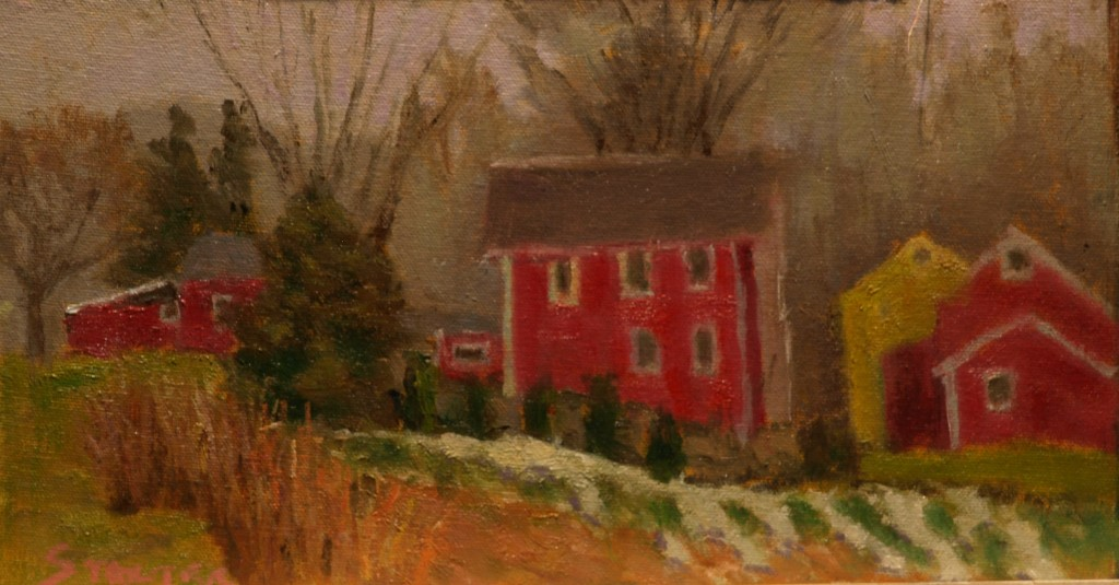Last of the Snow, Oil on Canvas on Panel, 8 x 14 Inches, by Richard Stalter, $225