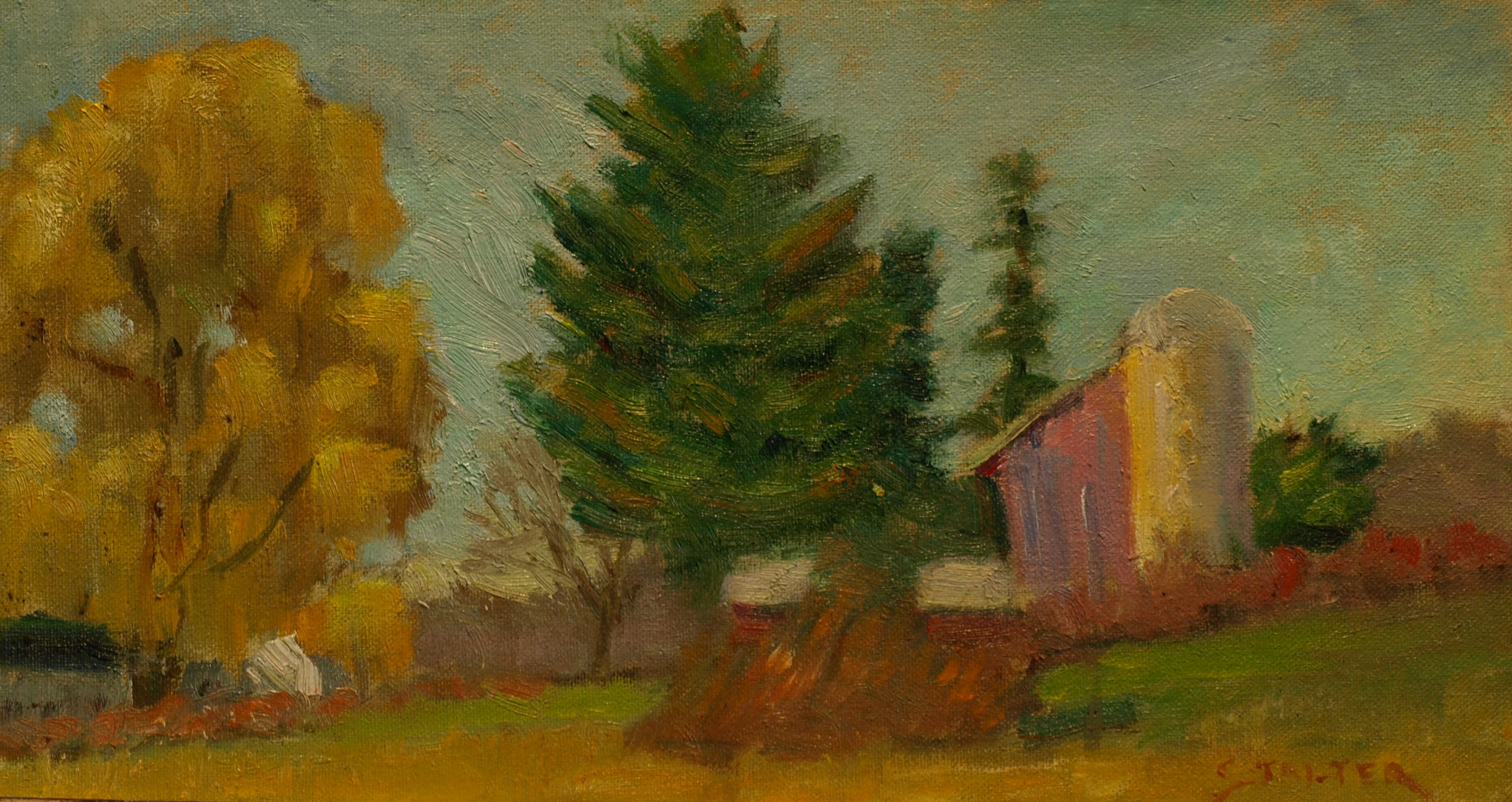 Little Field Road Farm, Oil on Canvas on Panel, 8 x 14 Inches, by Richard Stalter, $220