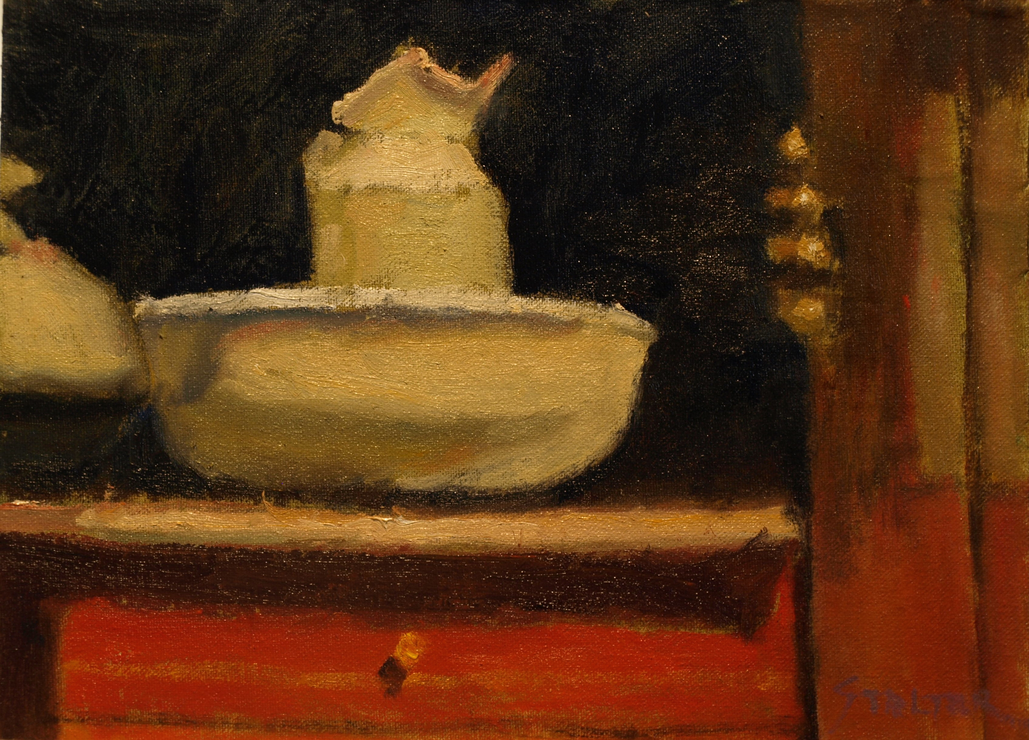 Pitcher and Bowl, Oil on Canvas on Panel, 9 x 12 Inches, by Richard Stalter, $220