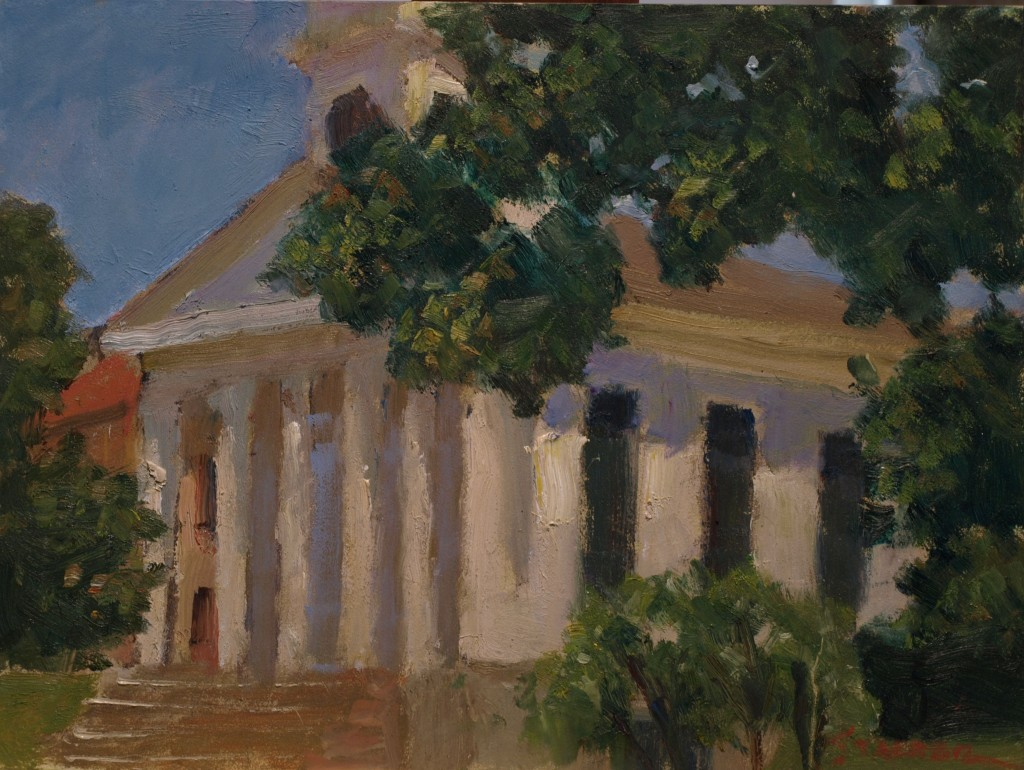 Congregational Church, Oil on Canvas on Panel, 9 x 12 Inches, by Richard Stalter, $220