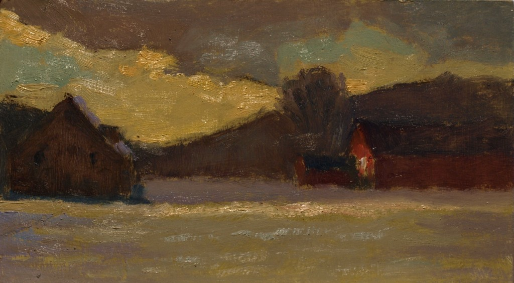 Last Light -- Winter, Oil on Panel, 8 x 14 Inches, by Richard Stalter, $220
