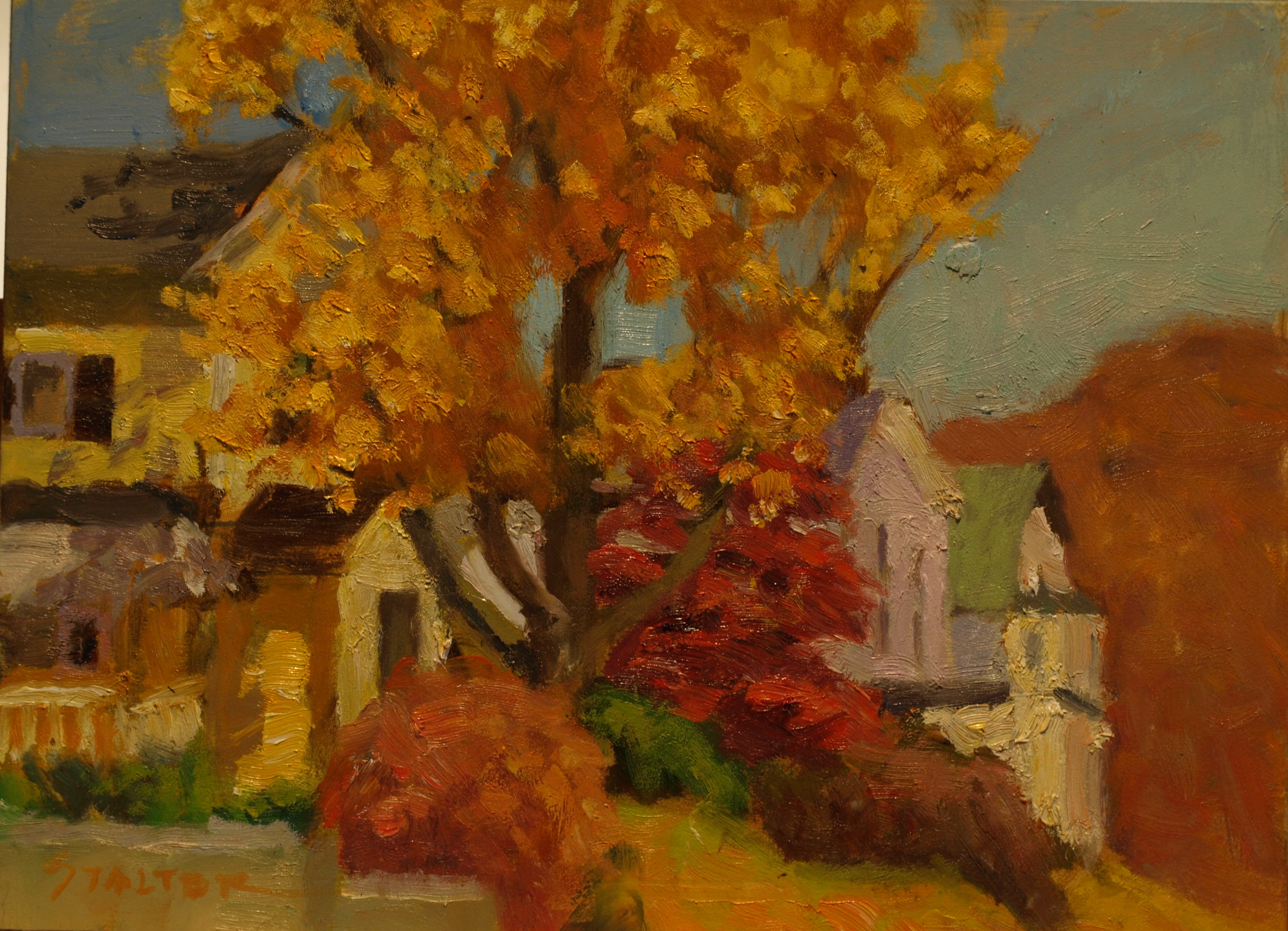 Autumn - Whittlesey Avenue, Oil on Canvas on Panel, 9 x 12 Inches, by Richard Stalter, $220