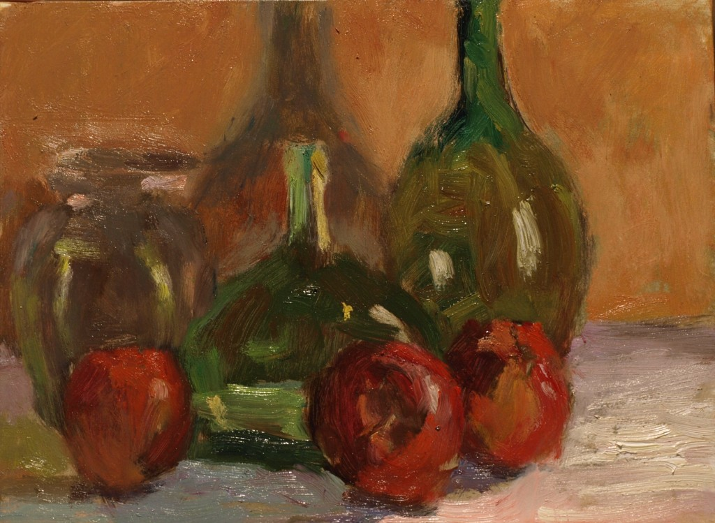 Bottles and Apples, Oil on Panel, 9 x 12 Inches, by Richard Stalter, $220
