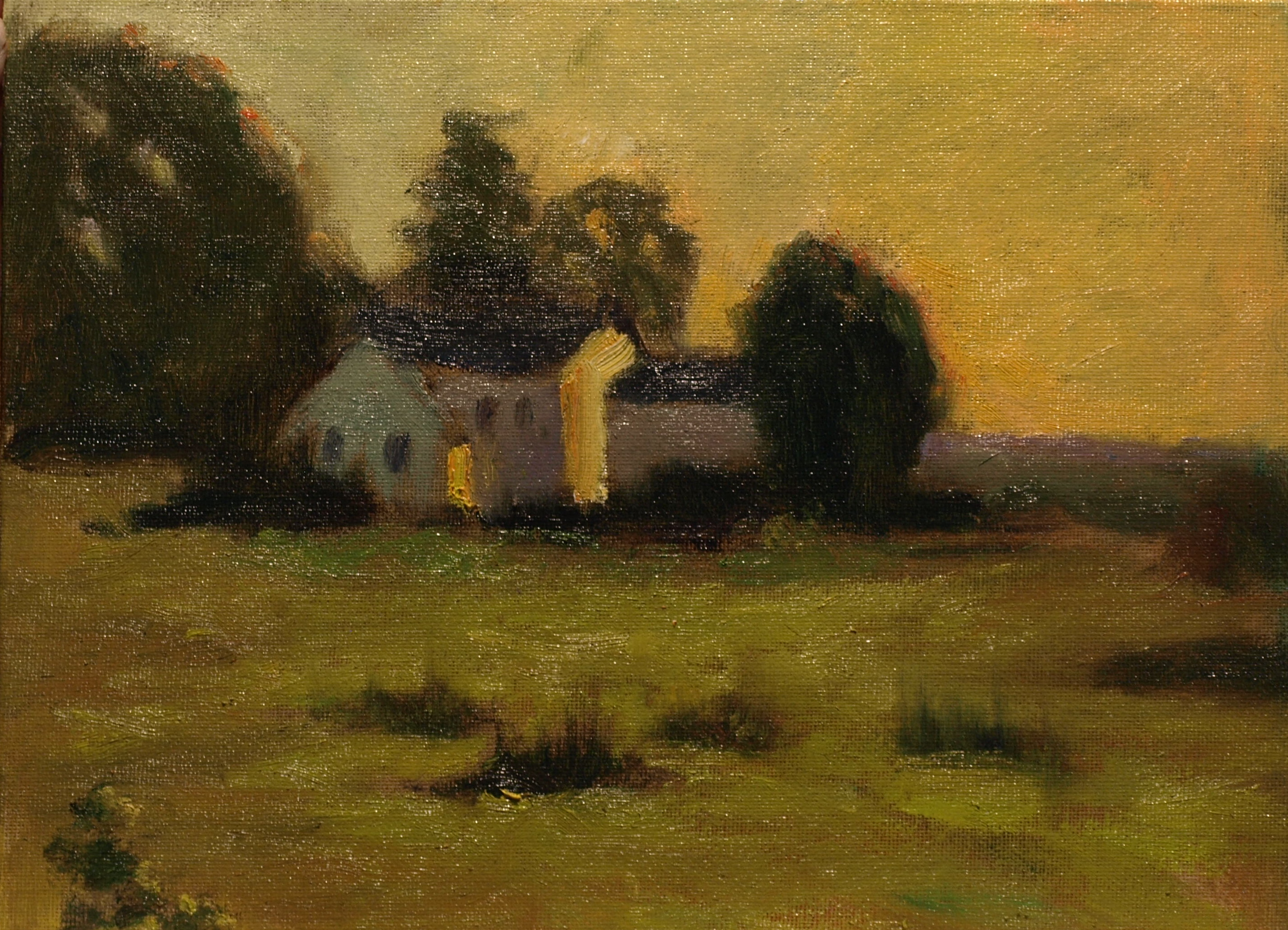 Evening Glow, Oil on Canvas on Panel, 9 x 12 Inches, by Richard Stalter, $220