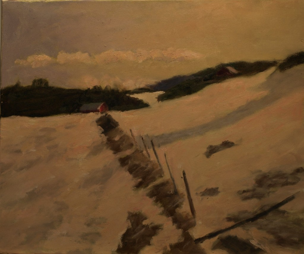 Old Fence Row - Snow, Oil on Canvas, 20 x 24 Inches, by Richard Stalter, $700