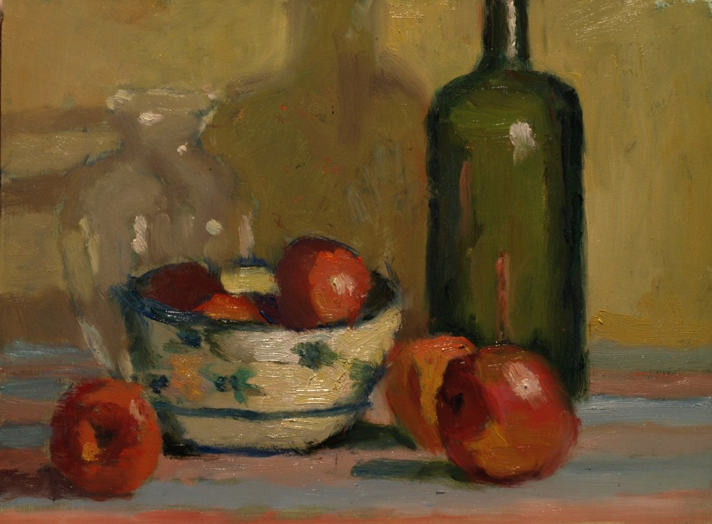 Green Bottle with Apples, Oil on Panel, 9 x 12 Inches, by Richard Stalter, $220