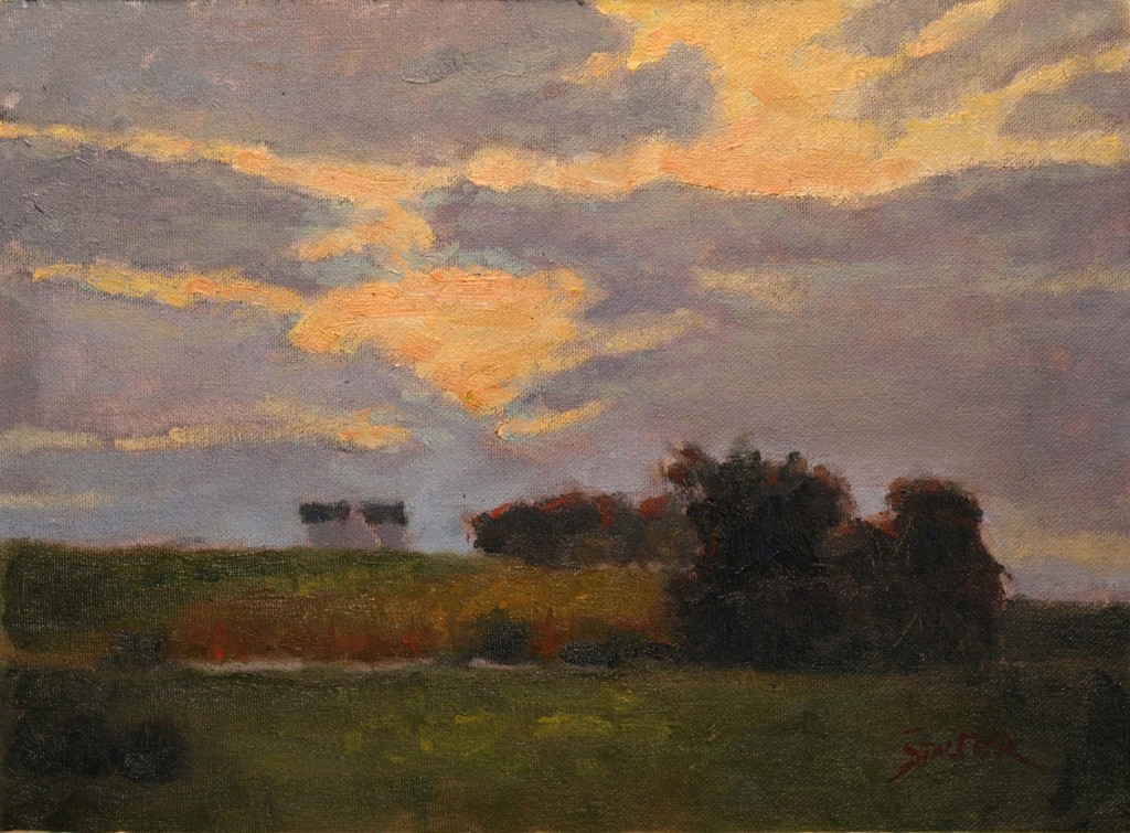 Late Day Clouds, Oil on Canvas on Panel, 9 x 12 Inches, by Richard Stalter, $220