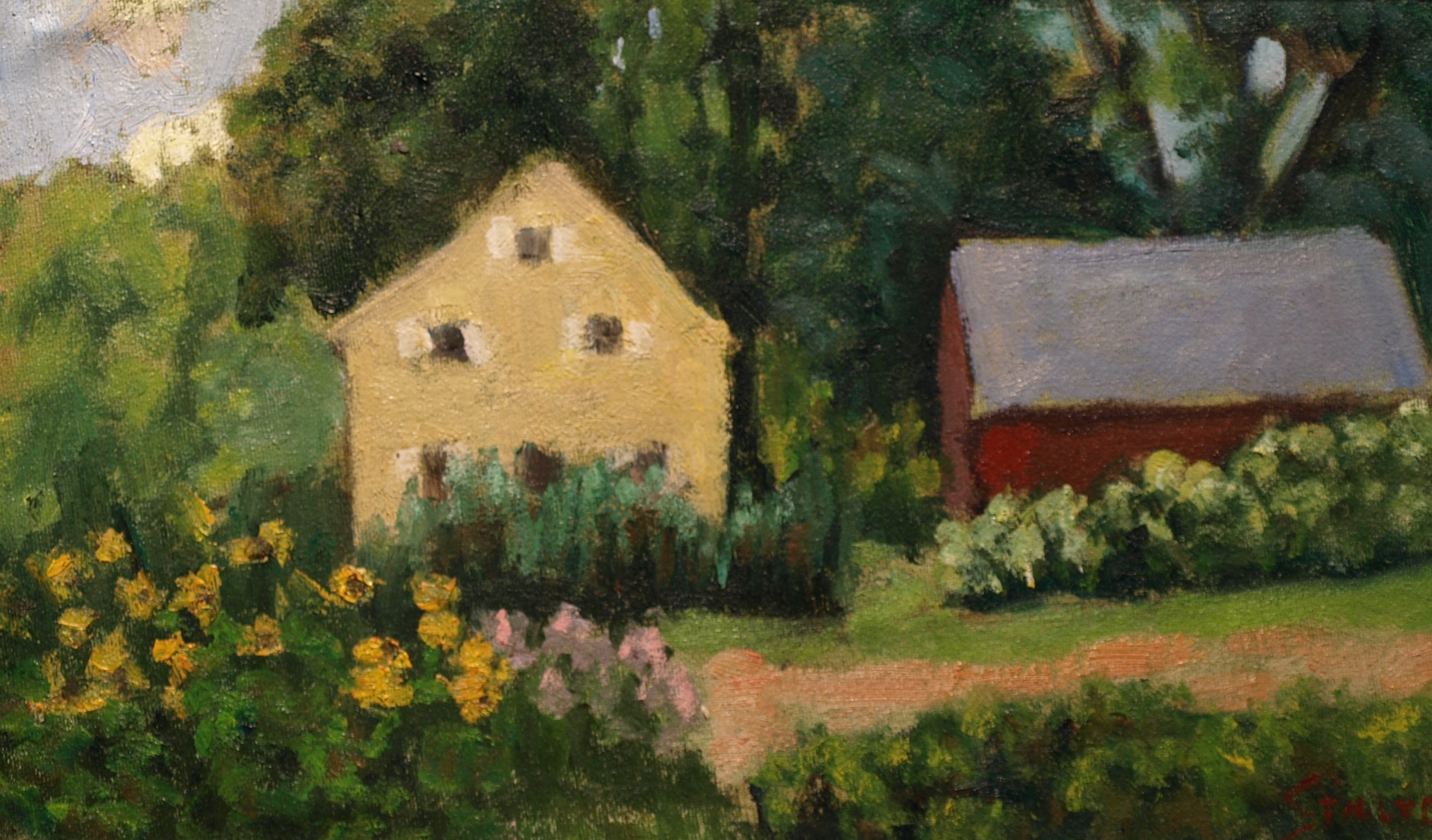 Sue's Flower Garden, Oil on Canvas on Panel, 9 x 12 Inches, by Richard Stalter, $225
