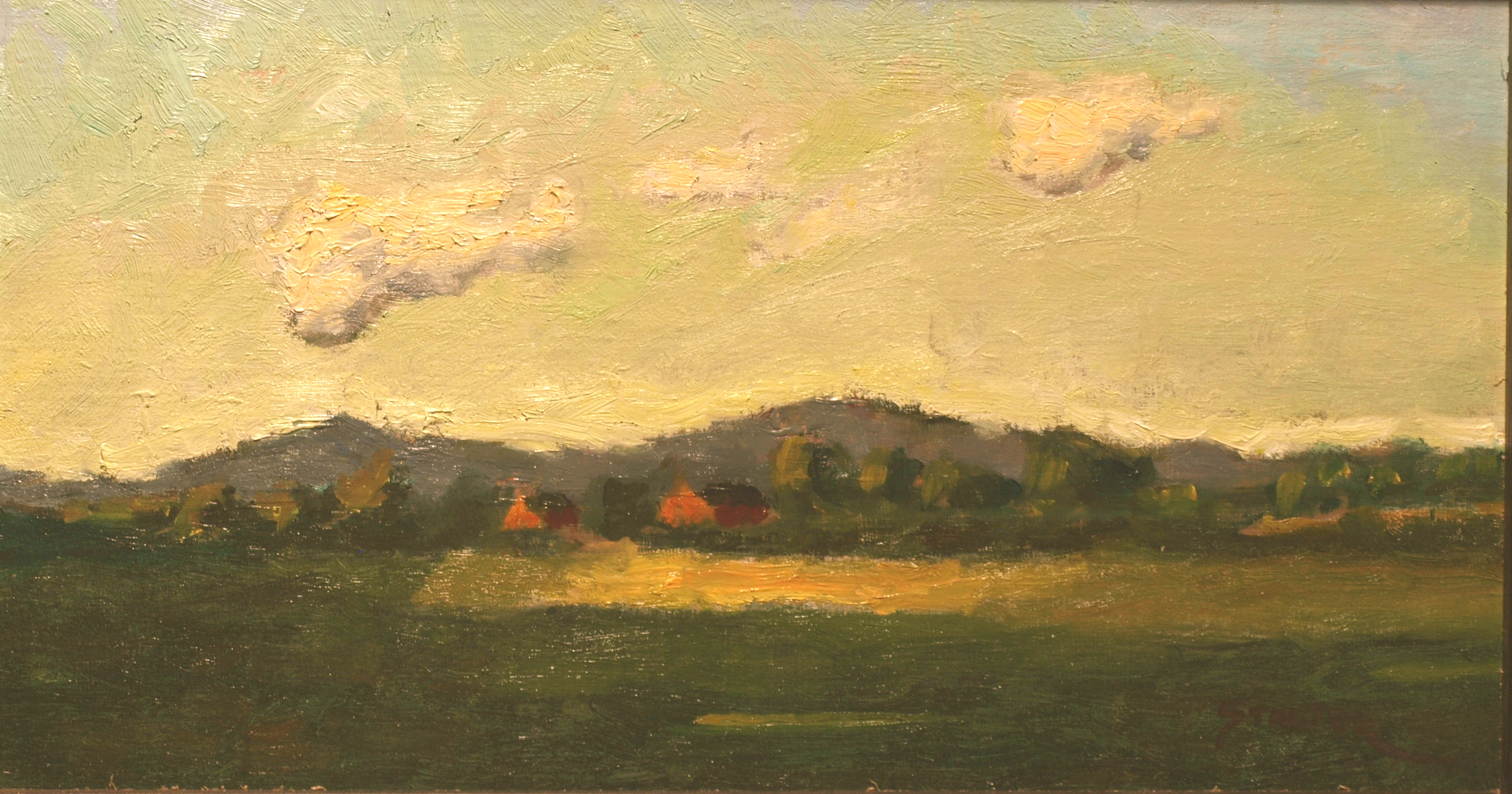 Distant Farm, Oil on Canvas on Panel, 8 x 14 Inches, by Richard Stalter, $225