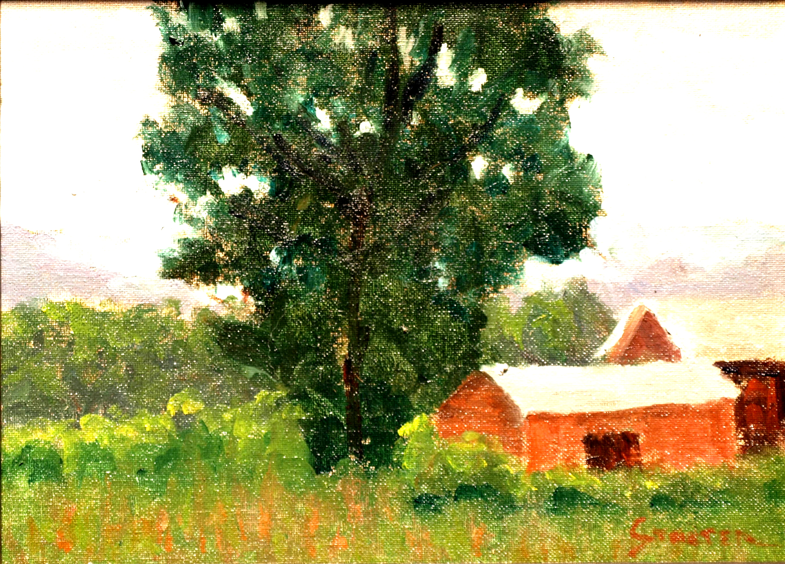 Dark Oak, Oil on Canvas on Panel, 8 x 14 Inches, by Richard Stalter, $225