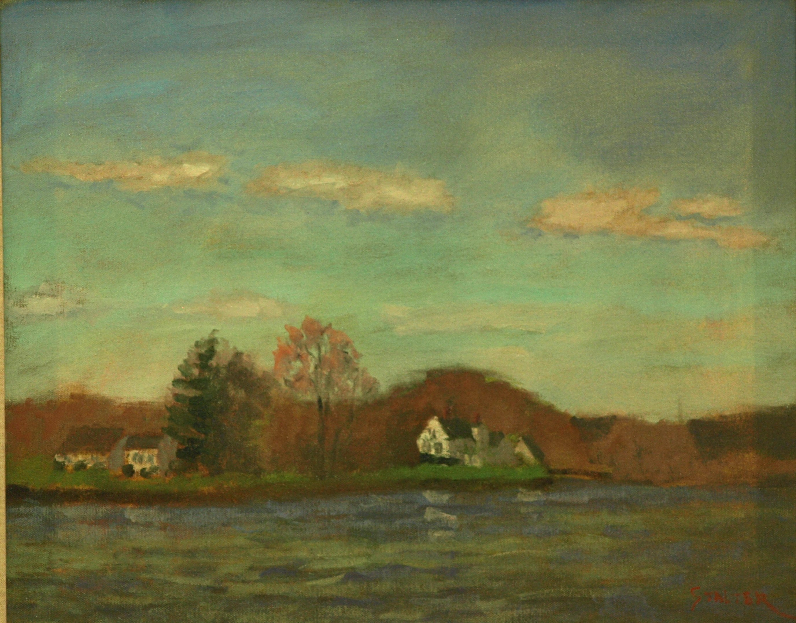 Across Stonington Bay, Oil on Canvas, 16 x 20 Inches, by Richard Stalter, $425
