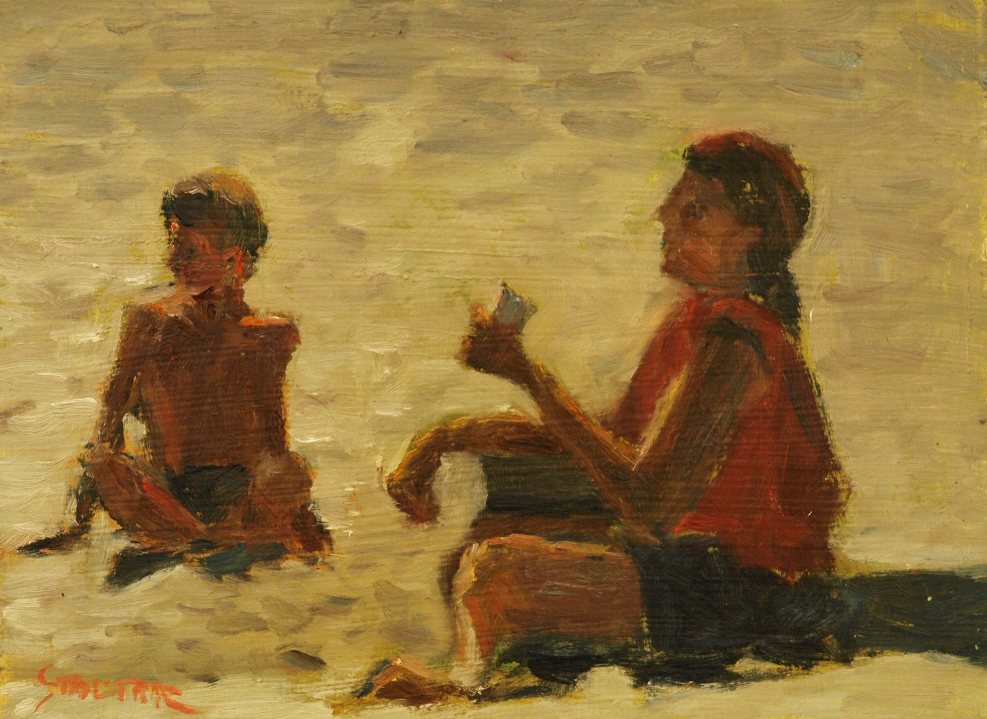 At the Beach, Oil on Panel, 9 x 12 Inches, by Richard Stalter, $225