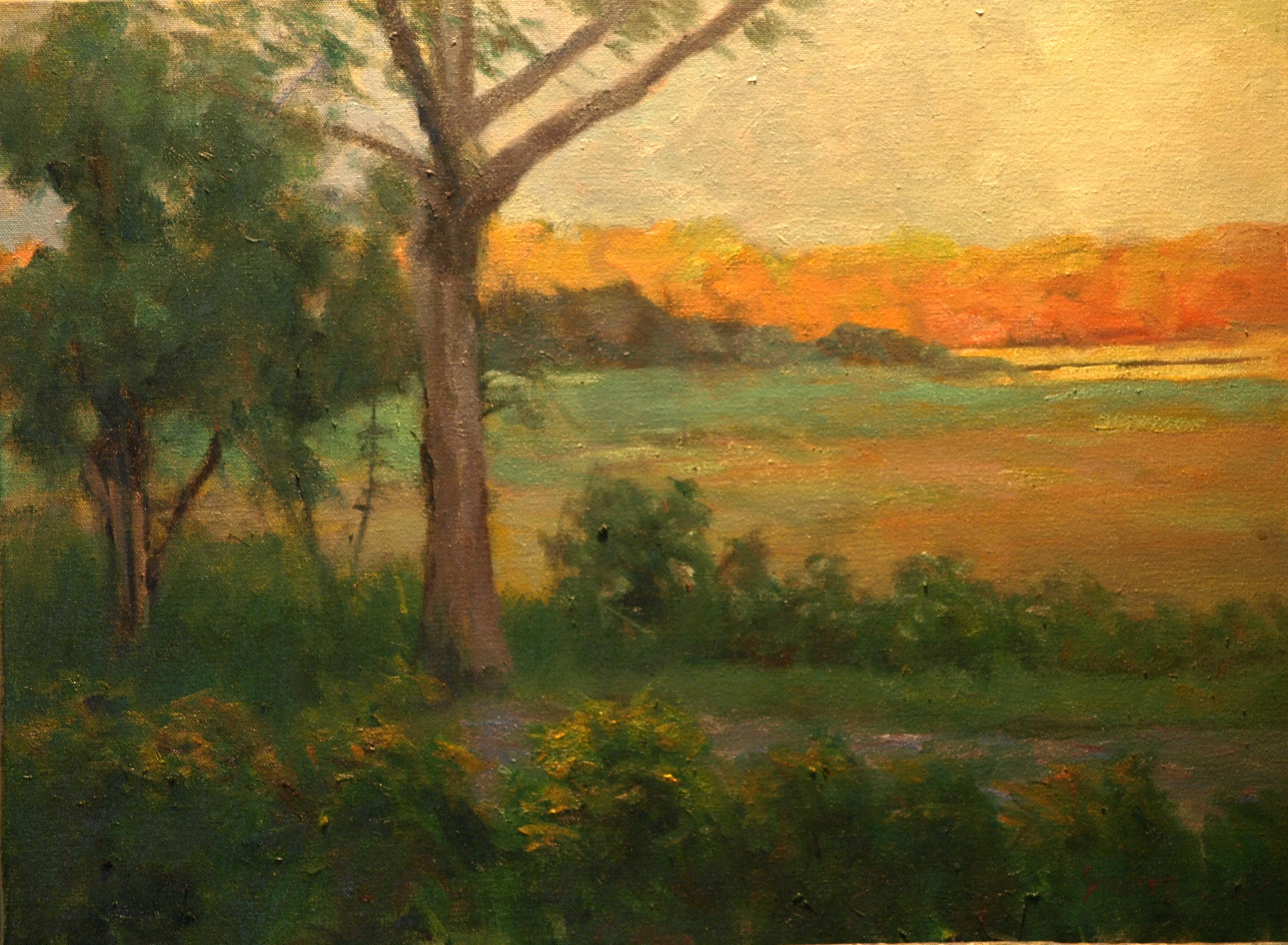 Autumn Sunset over the Marshes, Oil on Canvas, 18 x 24 Inches, by Richard Stalter, $650