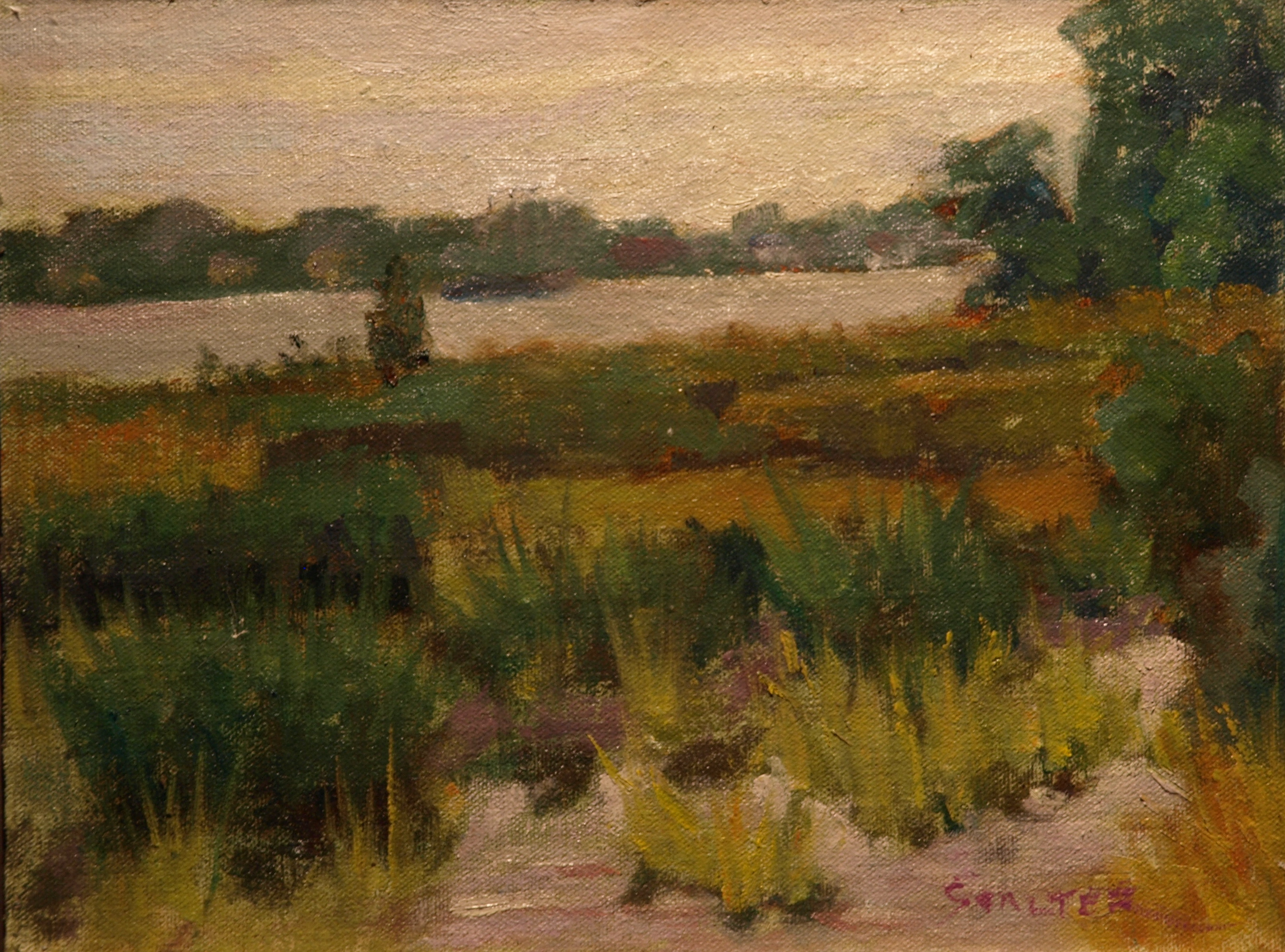 Barn Island Marsh # 2, Oil on Linen on Panel, 9 x 12 Inches, by Richard Stalter, $225