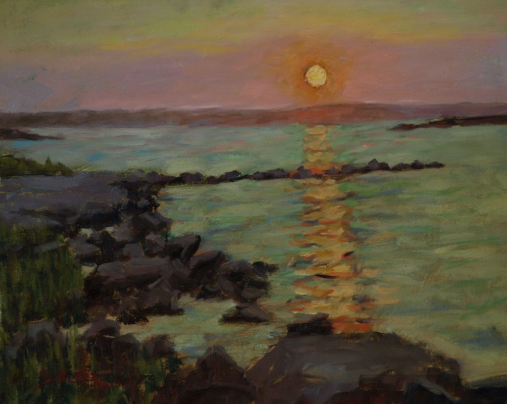 Bay Sunset, Oil on Canvas, 16 x 20 Inches, by Richard Stalter, $425