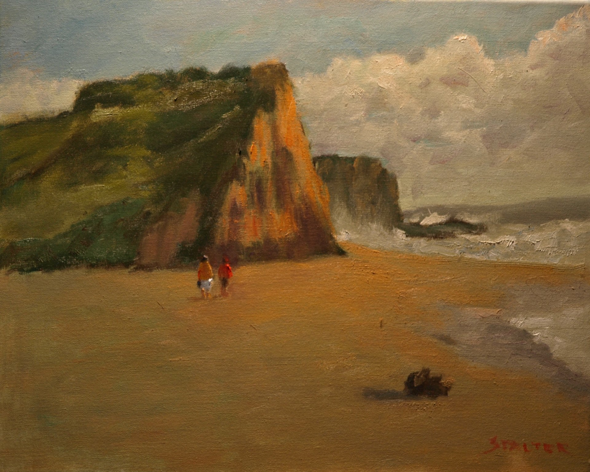 Beach and Large Formations, Oil on Canvas, 16 x 20 Inches, by Richard Stalter, $425