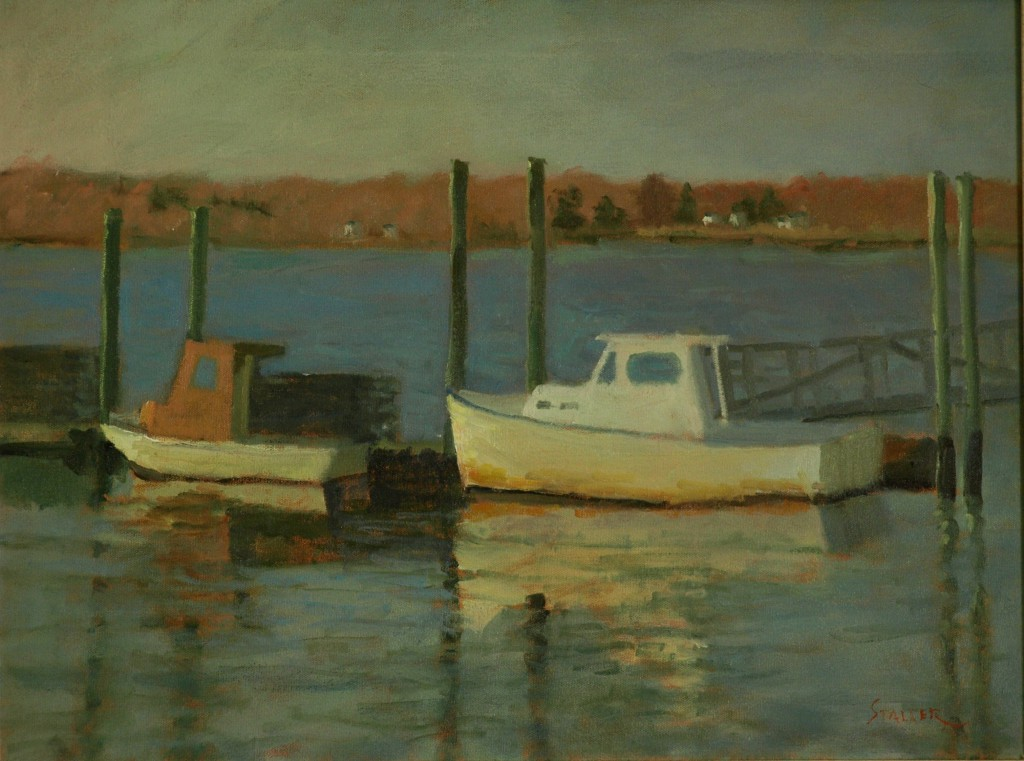 Boats in Stonington, Oil on Canvas, 18 x 24 Inches, by Richard Stalter, $475