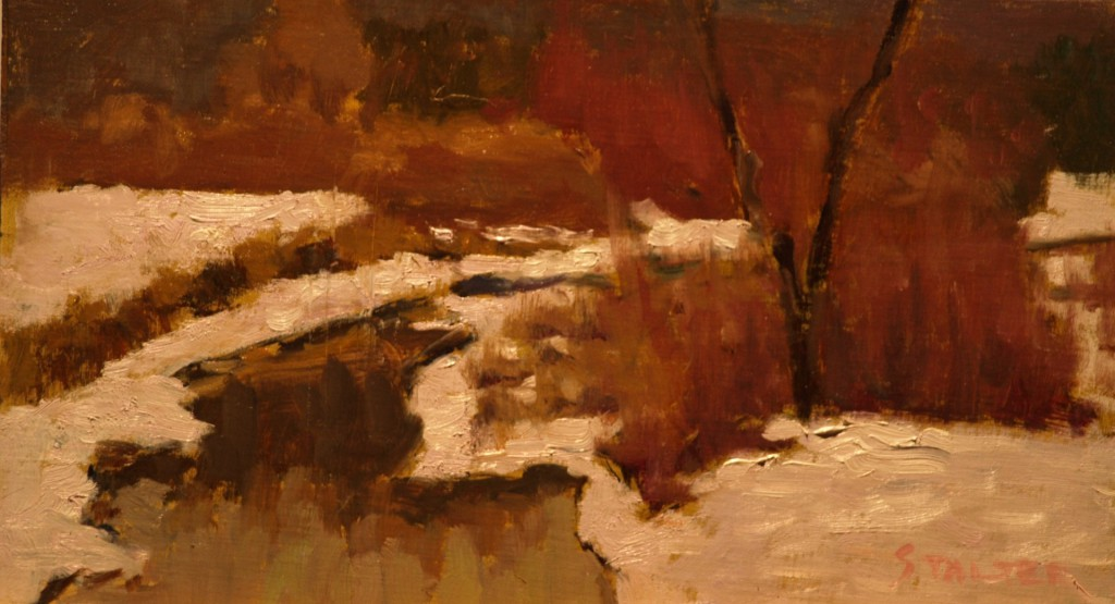 Brook in Snow - McGoldrick's, Oil on Panel, 8 x 14 Inches, by Richard Stalter, $225