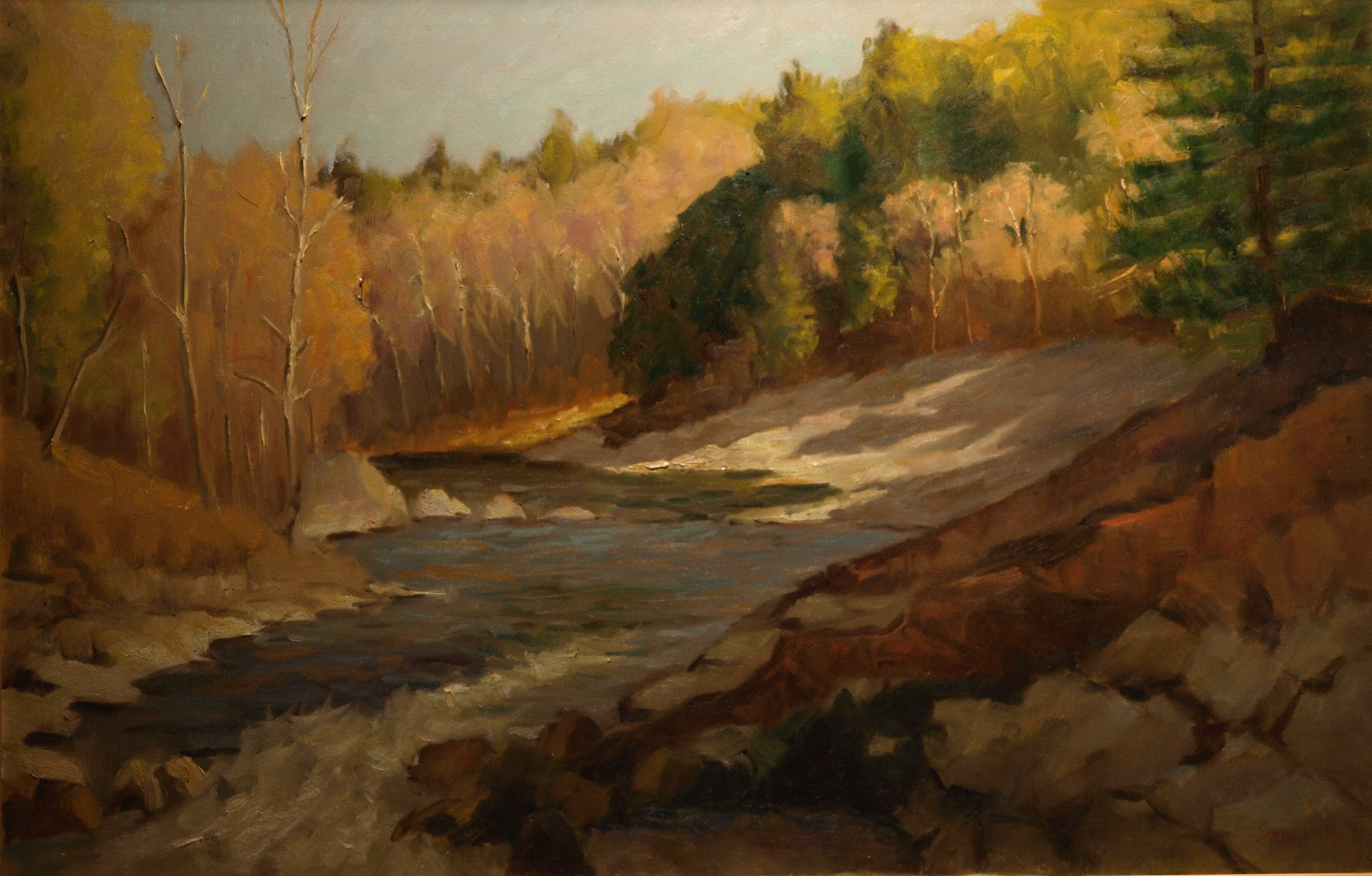 Bull Bridge Overlook, Oil on Canvas, 24 x 36 Inches, by Richard Stalter, $850