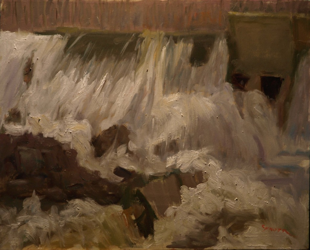 Bulls Bridge Dam Flood, Oil on Canvas, 16 x 20 Inches, by Richard Stalter, $425