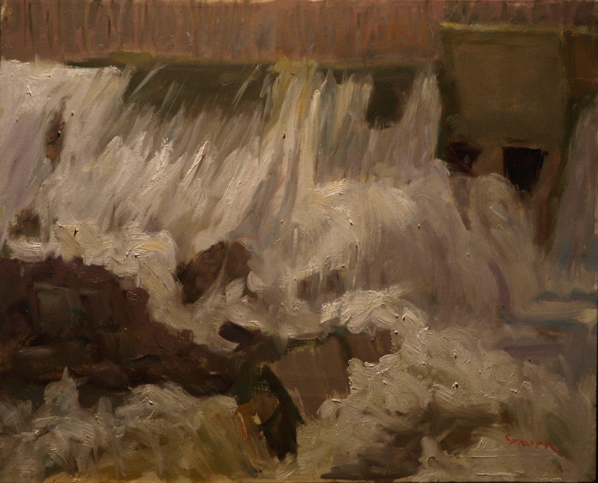 Bulls Bridge Dam Flood, Oil on Canvas, 16 x 20 Inches, by Richard Stalter, $425
