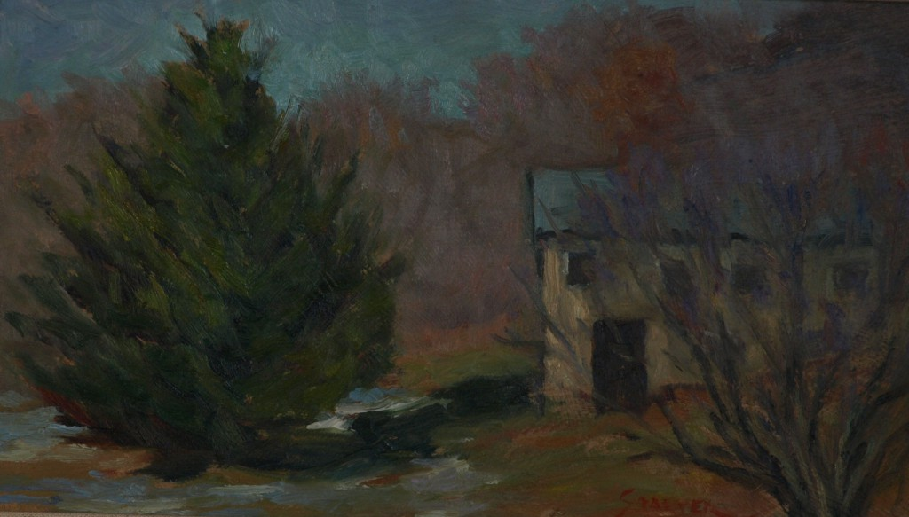 Cedar by the Chicken House, Oil on Panel, 8 x 14 Inches, by Richard Stalter, $225