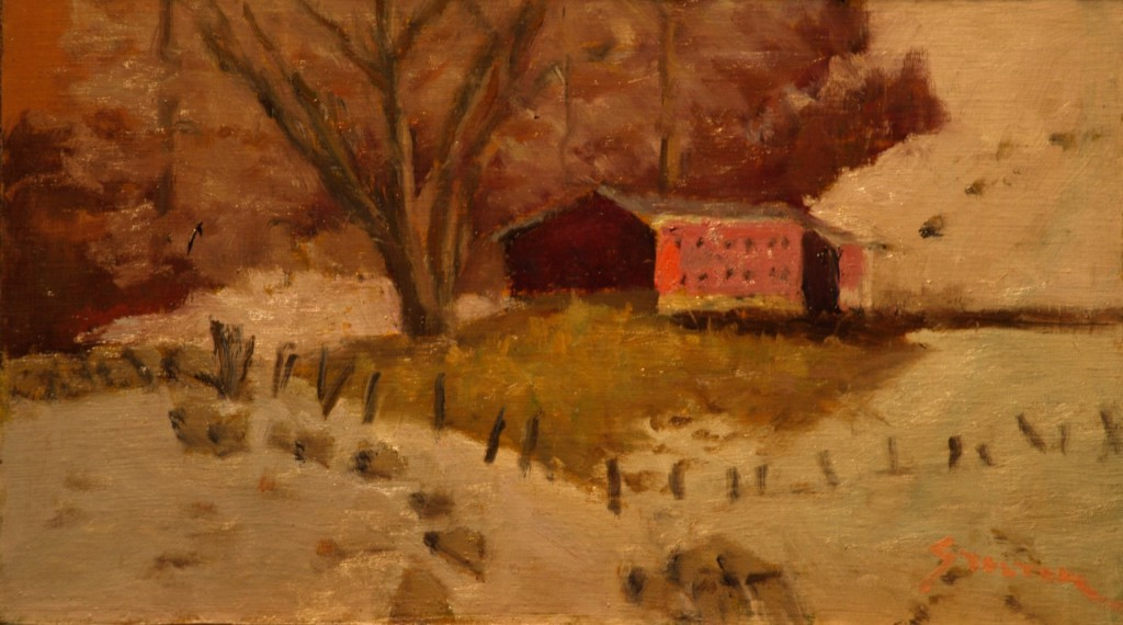 Chicken House - Winter, Oil on Linen on Panel, 8 x 14 Inches, by Richard Stalter, $225
