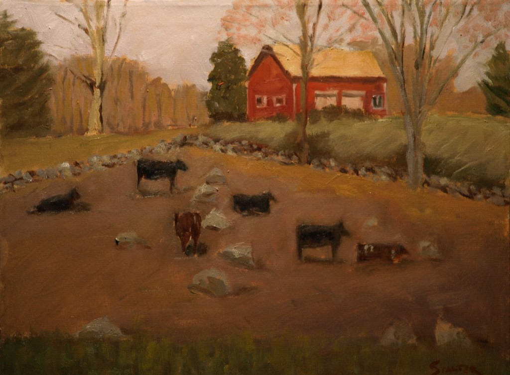 Cows - Hipp Farm, Oil on Canvas, 16 x 20 Inches, by Richard Stalter, $425