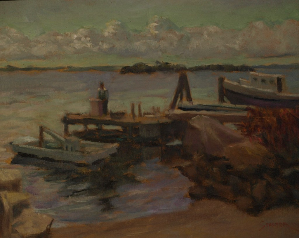 Cutting Bait, Oil on Canvas, 18 x 24 Inches, by Richard Stalter, $850