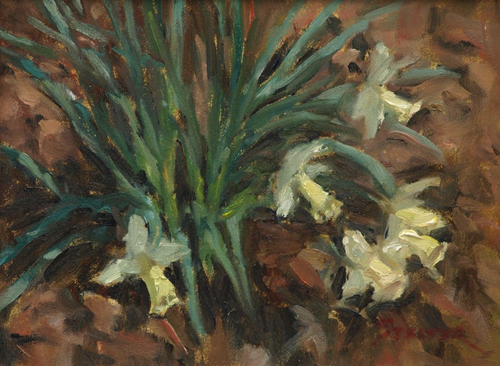 Daffodils, Oil on Panel, 9 x 12 Inches, by Richard Stalter, $225