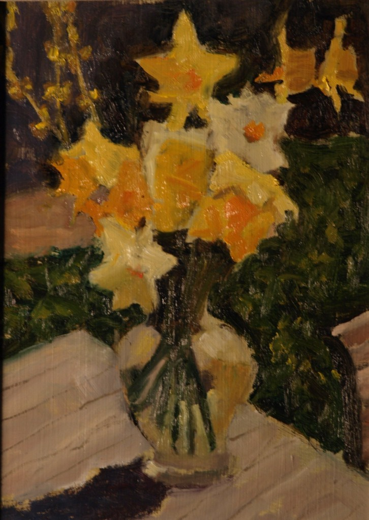 Daffodils, Oil on Panel, 12 x 9 Inches, by Richard Stalter, $225