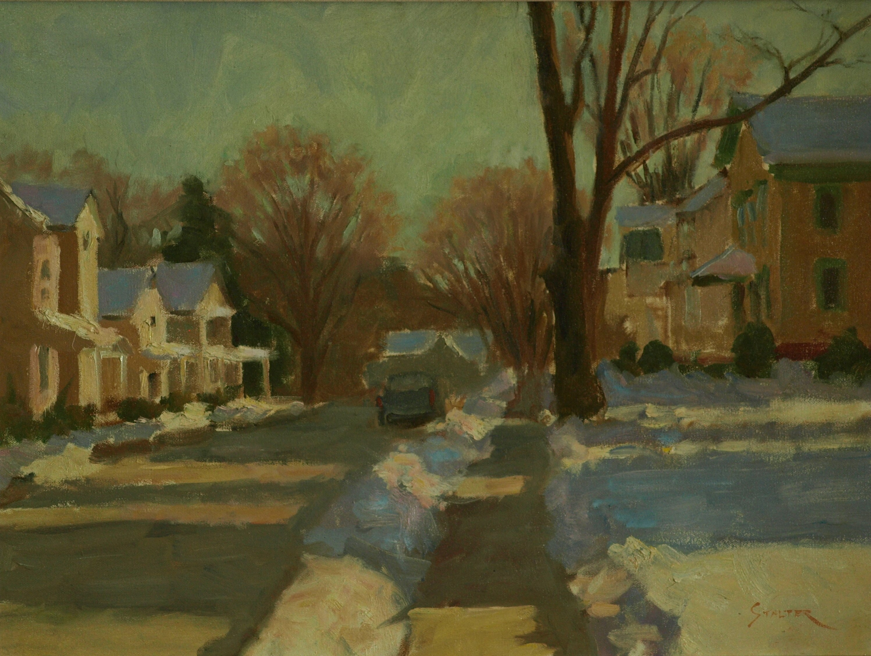 Deep Snow on South Main Street, Oil on Canvas, 18 x 24 Inches, by Richard Stalter, $475