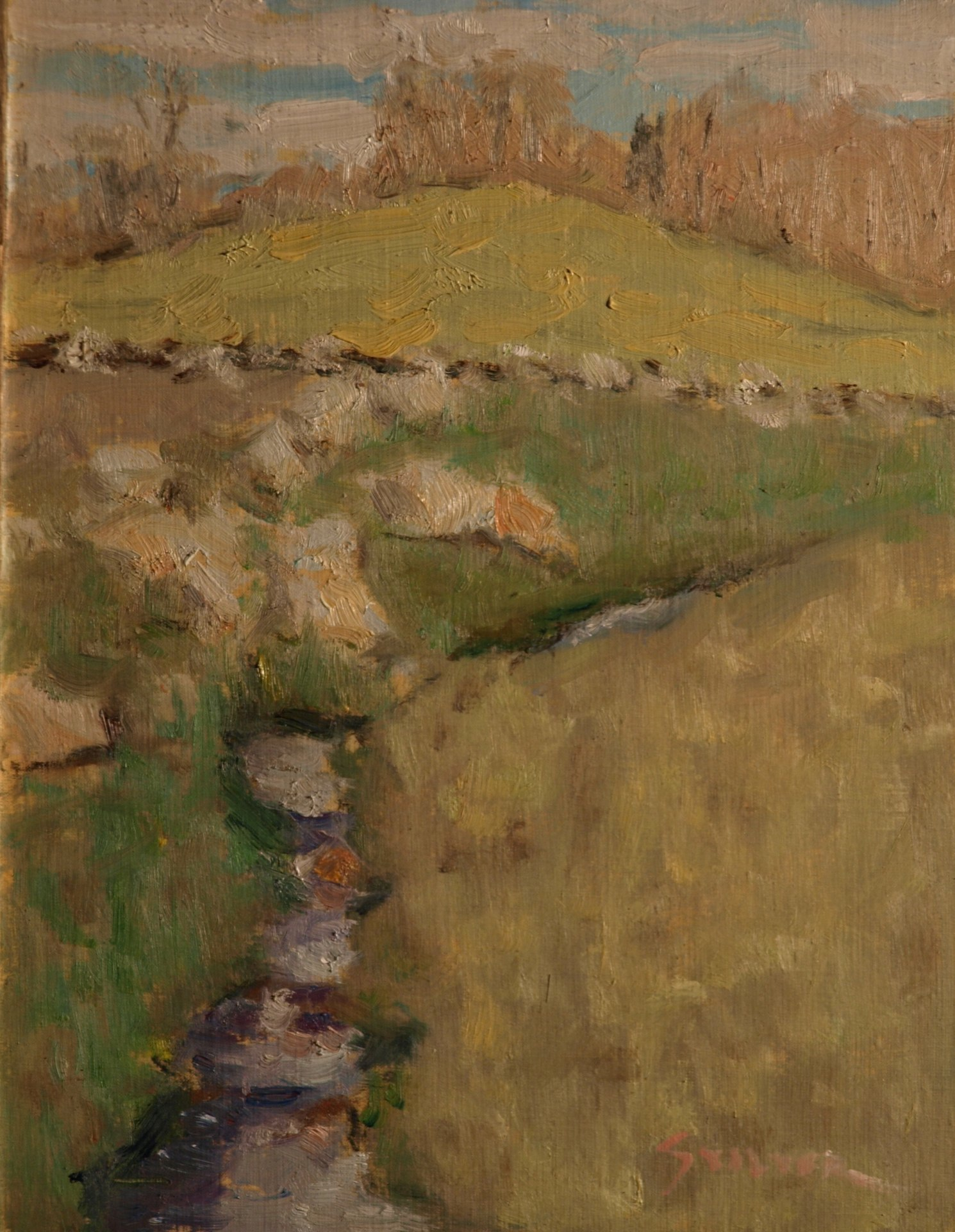 Early Spring Sunshine, Oil on Panel, 9 x 12 Inches, by Richard Stalter, $225