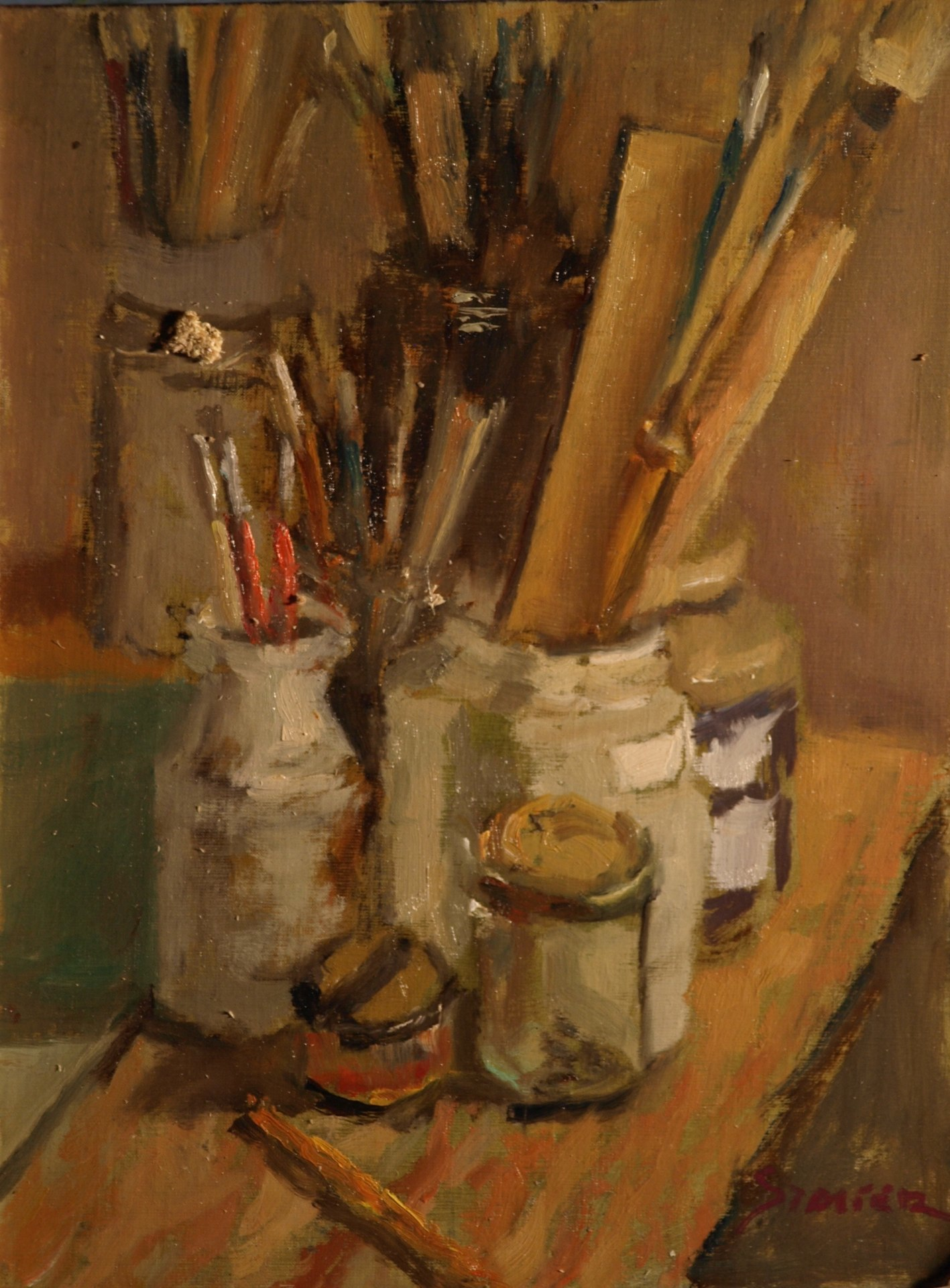 Jars of Brushes, Oil on Panel, 12 x 9 Inches, by Richard Stalter, $225