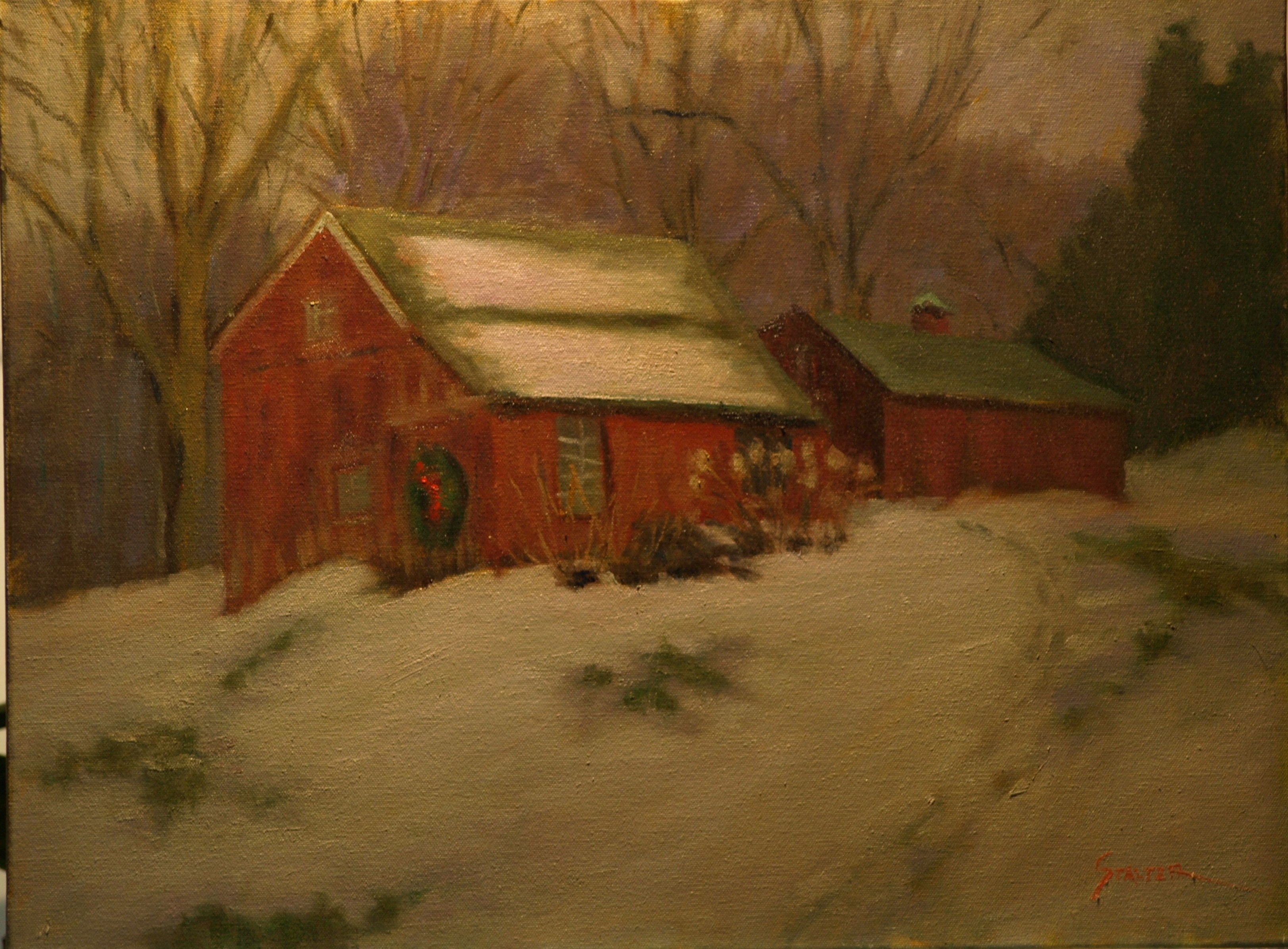 Jeff's Barns in Snow, Oil on Canvas, 18 x 24 Inches, by Richard Stalter, $650