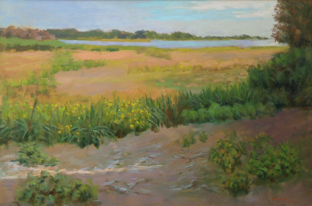 Late Afternoon - Barn Island, Oil on Canvas, 24 x 36 Inches, by Richard Stalter, $850