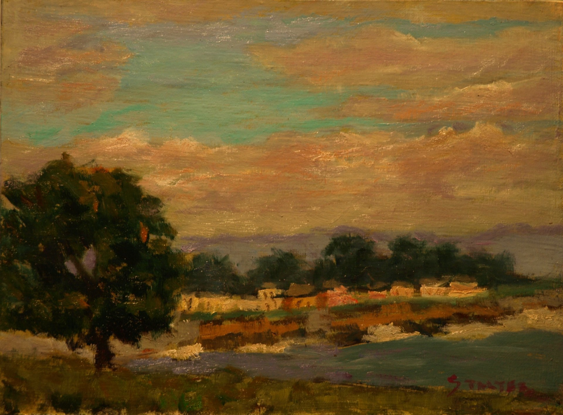 Late Afternoon Clouds, Oil on Panel, 9 x 12 Inches, by Richard Stalter, $225