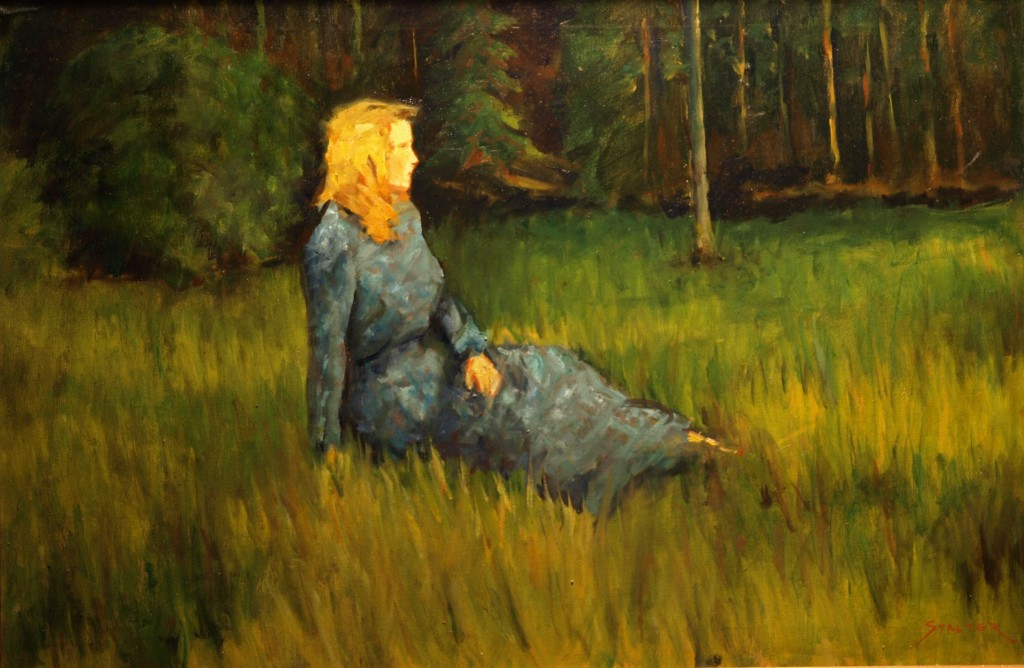Linda, Oil on Canvas, 24 x 36 Inches, by Richard Stalter, $850