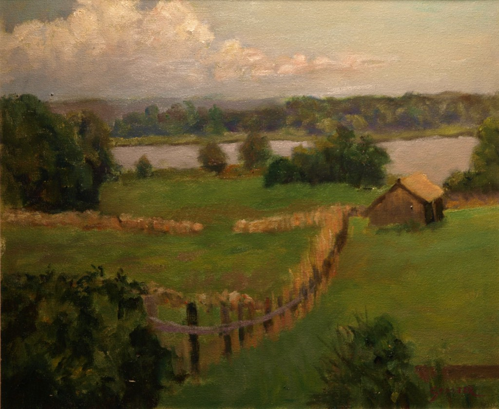 Looking Down on to Mystic River, Oil on Canvas, 20 x 24 Inches, by Richard Stalter, $850