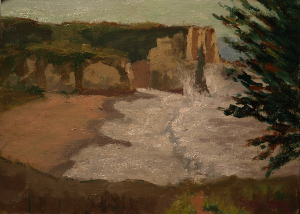 Looking Down on the Surf, Oil on Panel, 9 x 12 Inches, by Richard Stalter, $225