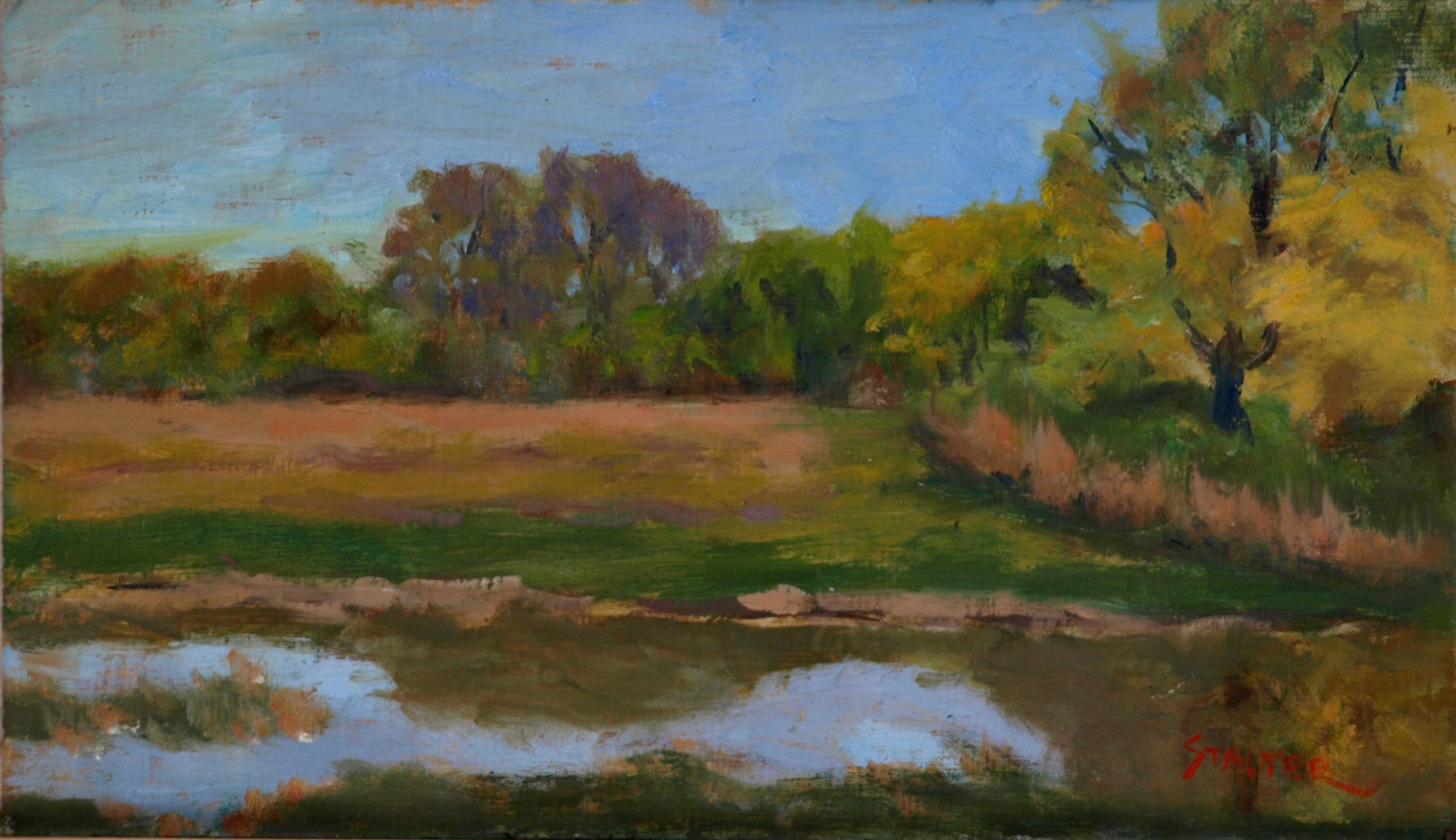 Marsh Reflections, Oil on Linen on Panel, 8 x 14 Inches, by Richard Stalter, $225