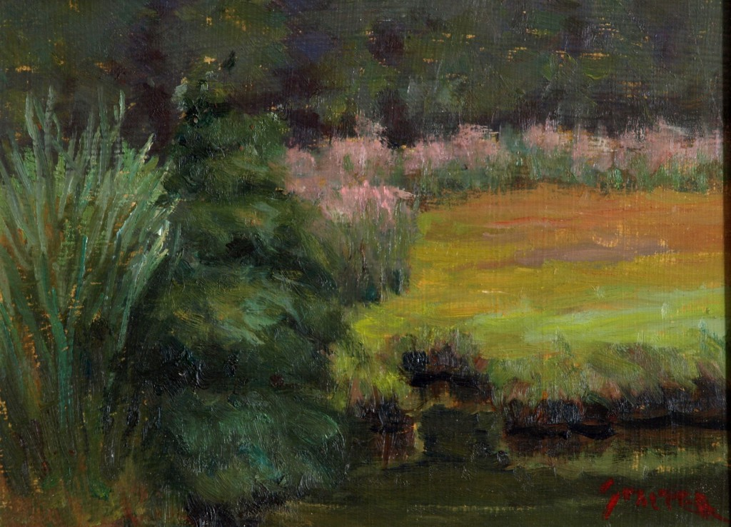 Marsh Flowers, Oil on Panel, 9 x 12 Inches, by Richard Stalter, $225