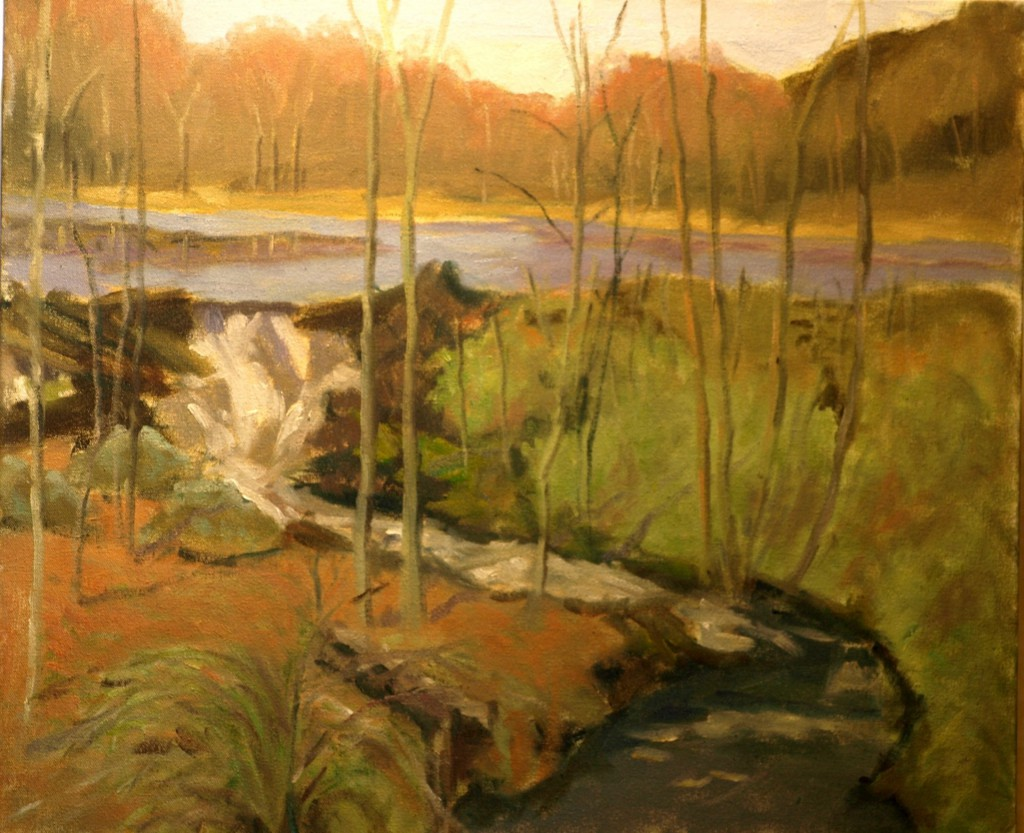 Mill Pond Spillway, Oil on Canvas, 20 x 24 Inches, by Richard Stalter, $850