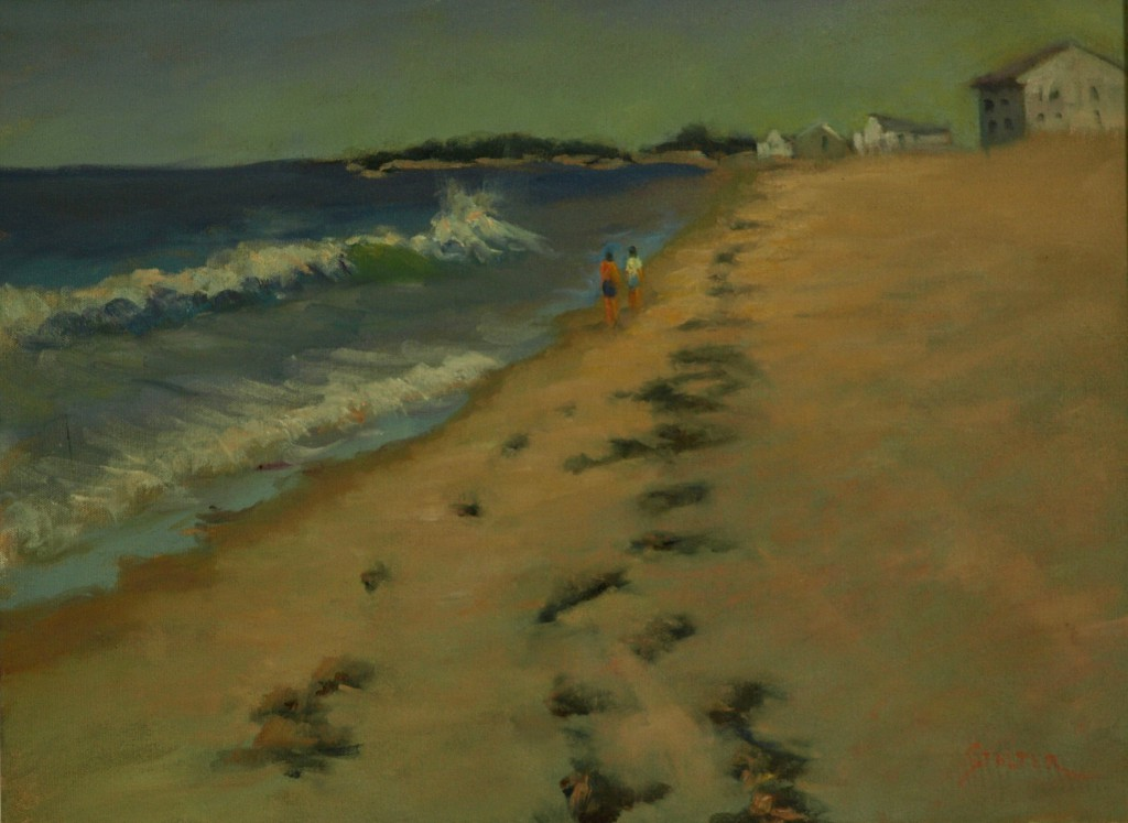 Misquamicut Beach, Oil on Canvas, 18 x 24 Inches, by Richard Stalter, $475